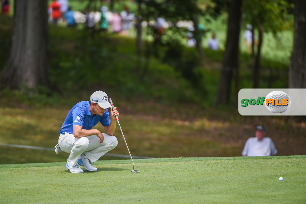 Emiliano Grillo (ARG) looks over his putt on 15 during 1st round of the 100th PGA Championship at Bellerive Country Club, St. Louis, Missouri. 8/9/2018.<br /> Picture: Golffile | Ken Murray<br /> <br /> All photo usage must carry mandatory copyright credit (© Golffile | Ken Murray)