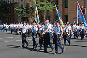Air force personnel marching in 2005 ANZAC day parade, Brisbane <br /> <br /> Editions:- Open Edition Print / Stock Image