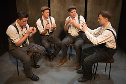 © Licensed to London News Pictures. 28/07/2015. London, UK. L-R: James Wallwork as Arthur, Paul Tinto as Phil, Kieran Knowles as Tommy and Salvatore D'Aquilla as Bob. World premiere of the play Operation Crucible at the Finborough Theatre. The play commemorates the 75th anniversary of the Sheffield Blitz and the 70th anniversary of the end of the Second World War with four men trapped in the rubble. The play by Kieran Knowles and directed by Bryony Shanahan runs at the Finborough Theatre from 28 July to 22 August 2015. With Salvatore D'Aquilla, Kieran Knowles, Paul Tinto and James Wallwork. Photo credit: Bettina Strenske/LNP