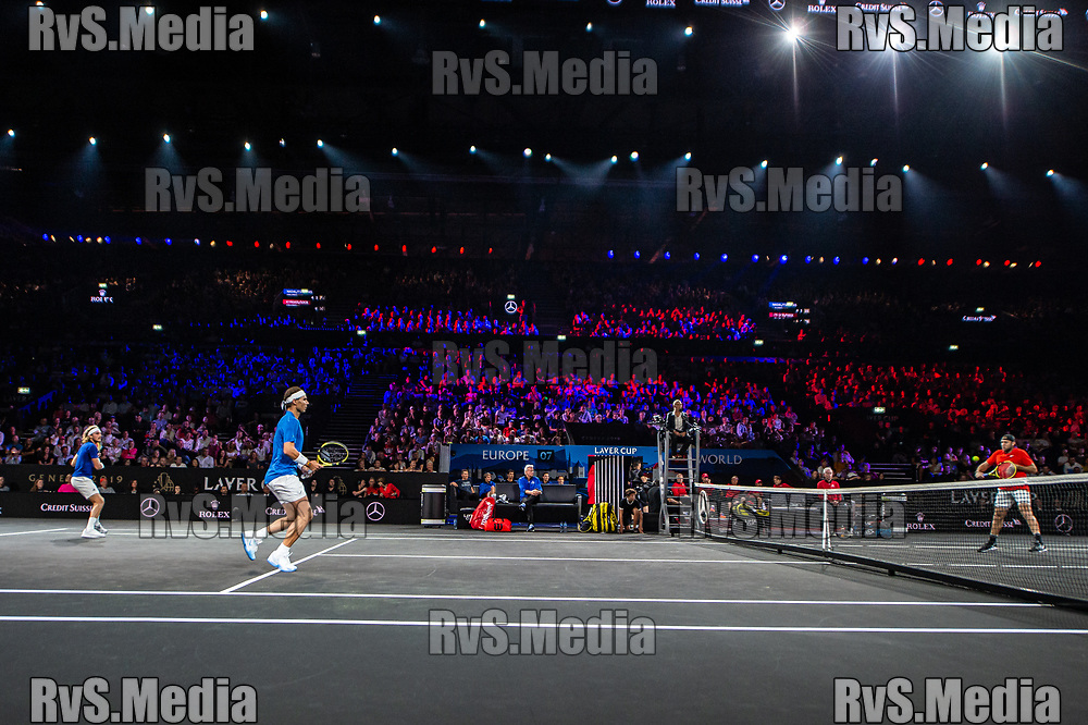 GENEVA, SWITZERLAND - SEPTEMBER 21: General view of the Centre Court with Rafael Nadal of Team Europe and Stefanos Tsitsipas of Team Europe during Day 2 of the Laver Cup 2019 at Palexpo on September 21, 2019 in Geneva, Switzerland. The Laver Cup will see six players from the rest of the World competing against their counterparts from Europe. Team World is captained by John McEnroe and Team Europe is captained by Bjorn Borg. The tournament runs from September 20-22. (Photo by Monika Majer/RvS.Media)