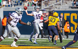 Oct 31, 2020; Morgantown, West Virginia, USA; Kansas State Wildcats quarterback Will Howard (15) throws a pass during the first quarter against the West Virginia Mountaineers at Mountaineer Field at Milan Puskar Stadium. Mandatory Credit: Ben Queen-USA TODAY Sports