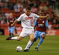 Photo: Mark Stephenson.<br /> Stoke City v Aston Villa. Pre Season Friendly. 01/08/2007.<br /> Stoke's Lewis Buxton on the ball