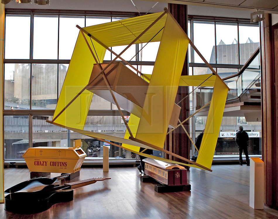 © Licensed to London News Pictures. 22/01/2012. London, U.K..The Kite coffin..Boxed Exhibition at the Royal Festival Hall on the South Bank, London, showing fabulous weird and whacky coffins from the UK and Ghana..Photo credit : Rich Bowen/LNP