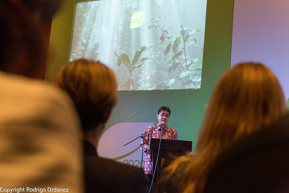 Dr. Agus Justianto, senior advisor to the Minister of Environment and Forestry of Indonesia, delivers the keynote speech during the opening session of the General Assembly of the Tropical Forest Alliance 2020 in Jakarta, Indonesia, on March 10, 2016. <br /> (Photo: Rodrigo Ordonez)