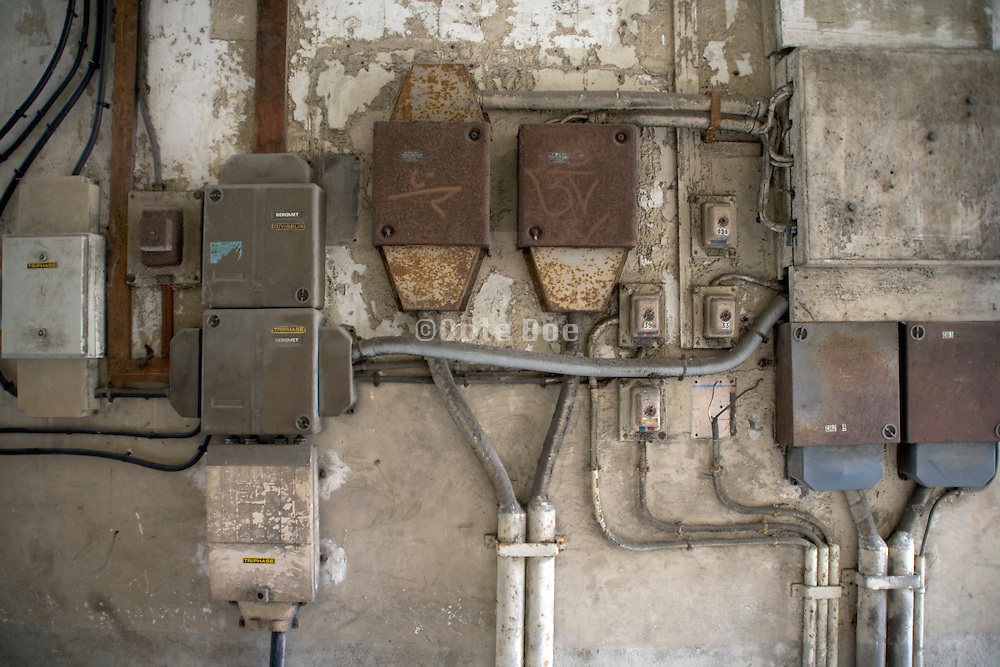 a old rusty and dusty electrical installation