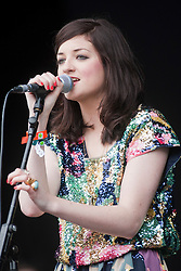 Katie Sutherland of Pearl and the Puppets on the main stage. Rockness, Sunday 13th June 2010..Pic ©2010 Michael Schofield. All Rights Reserved.