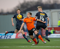 Dundee United'sPeter Pawlett an dFalkirk's Tom Robson. hafl time : Falkirk 0 v 0 Dundee United, Scottish Championship game played 23/2/2019 at The Falkirk Stadium.