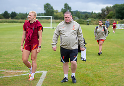 WALLASEY, ENGLAND - Wednesday, July 28, 2021: Liverpool's Ceri Holland and manager Matt Beard during a training session at The Campus as the team prepare for the start of the new 2021/22 season. (Pic by David Rawcliffe/Propaganda)