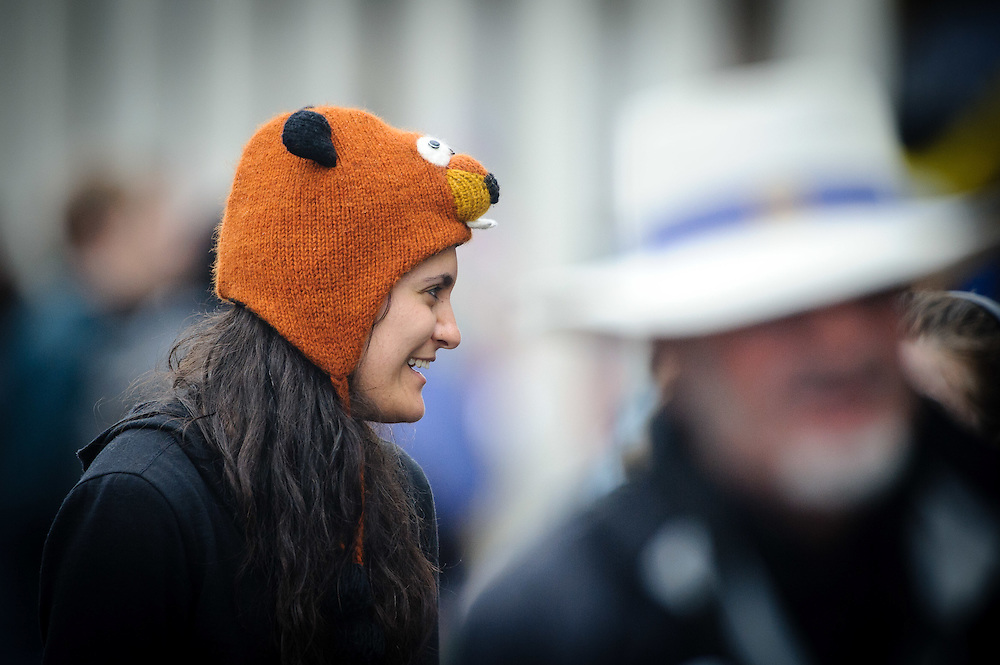 WELLINGTON, NEW ZEALAND - December 07:  Ana Kovacevic wears a beaver hat to the Thorndon Fair 2014. December 07, 2014 in Wellington, New Zealand.  REAL PEOPLE.  (Photo by Mark Tantrum/ real-people.co.nz)