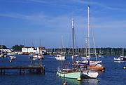 AREJJA Boats moored on River Deben, Woodbridge, Suffolk, England