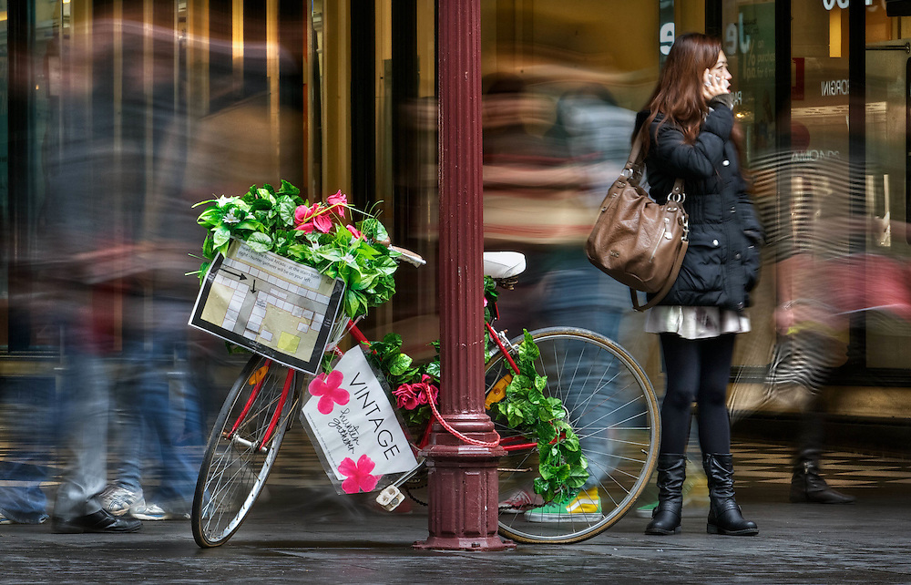 BEST VERSION. Modern Melbourne #21. All the rage in street advertising is to dress up an old bike with flowers & the name & location of your store, pictured in Bourke St Mall. Pic By Craig Sillitoe CSZ / The Sunday Age 27/07/2012 melbourne photographers, commercial photographers, industrial photographers, corporate photographer, architectural photographers, This photograph can be used for non commercial uses with attribution. Credit: Craig Sillitoe Photography / http://www.csillitoe.com<br /> <br /> It is protected under the Creative Commons Attribution-NonCommercial-ShareAlike 4.0 International License. To view a copy of this license, visit http://creativecommons.org/licenses/by-nc-sa/4.0/. This photograph can be used for non commercial uses with attribution. Credit: Craig Sillitoe Photography / http://www.csillitoe.com<br /> <br /> It is protected under the Creative Commons Attribution-NonCommercial-ShareAlike 4.0 International License. To view a copy of this license, visit http://creativecommons.org/licenses/by-nc-sa/4.0/.