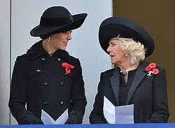 The Duchess of Cambridge (left) and the Duchess of Cornwall during the annual Remembrance Sunday Service at the Cenotaph memorial in Whitehall, central London, held in tribute for members of the armed forces who have died in major conflicts.