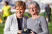 First Minister Nicola Sturgeon presenting Linda Kidd with her long awaited Scotland Cap ahead of the International Friendly match between Scotland Women and Jamaica Women at Hampden Park, Glasgow, United Kingdom on 28 May 2019.