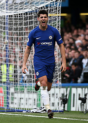 """Chelsea's Alvaro Morata celebrates scoring his side's second goal of the game during the Premier League match at Stamford Bridge, London. PRESS ASSOCIATION Photo Picture date: Saturday December 2, 2017. See PA story SOCCER London. Photo credit should read: Steven Paston/PA Wire. RESTRICTIONS: EDITORIAL USE ONLY No use with unauthorised audio, video, data, fixture lists, club/league logos or """"live"""" services. Online in-match use limited to 75 images, no video emulation. No use in betting, games or single club/league/player publications."""