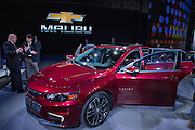 New York, NY - 1 April 2015. A spokesman from Chevrolet shows a member of the press the new Chevrolet Malibu, which makes its debut at the 2015 New York International Auto Show.