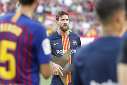 August 15, 2018 - Barcelona, Spain - FC Barcelona forward Lionel Messi (10) with the trophy during the match between FC Barcelona and CA Boca Juniors corresponding to Joan Gamper Trophy, played at Camp nou  on 15th August 2018 in Barcelona, Spain. (Credit Image: © Joan Valls/NurPhoto via ZUMA Press)