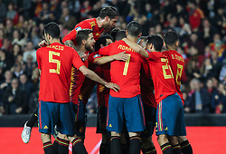 March 23, 2019 - Valencia, Valencia, Spain - Players of Spain celebrating a goal during European Qualifiers championship, , football match between Spain and Norway, March 23th, in Mestalla Stadium in Valencia, Spain. (Credit Image: © AFP7 via ZUMA Wire)