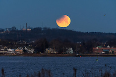 2018 Lunar Eclipse, partial before moonset, Blue Moon - New Haven CT | 31 January 2018