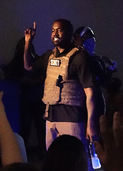 EXCLUSIVE: Kanye West wears a security vest and has 2020 shaved in his head as he rants and raves at his first campaign rally in South Carolina. 19 Jul 2020 Pictured: Kanye West. Photo credit: MEGA TheMegaAgency.com +1 888 505 6342