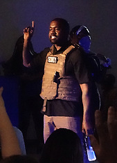 Kanye West wears a security vest and has 2020 shaved in his head -19 July 2020