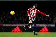 Andreas Bjelland of Brentford in action. EFL Skybet football league championship match, Brentford v Sheffield Wednesday at Griffin Park in London on Saturday 30th December 2017.<br /> pic by Steffan Bowen, Andrew Orchard sports photography.