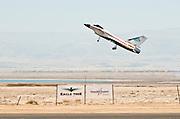 Israel, Massada Air Strip, the international radio controlled model aircraft competition June 27 2009. Jet model plane at takeoff