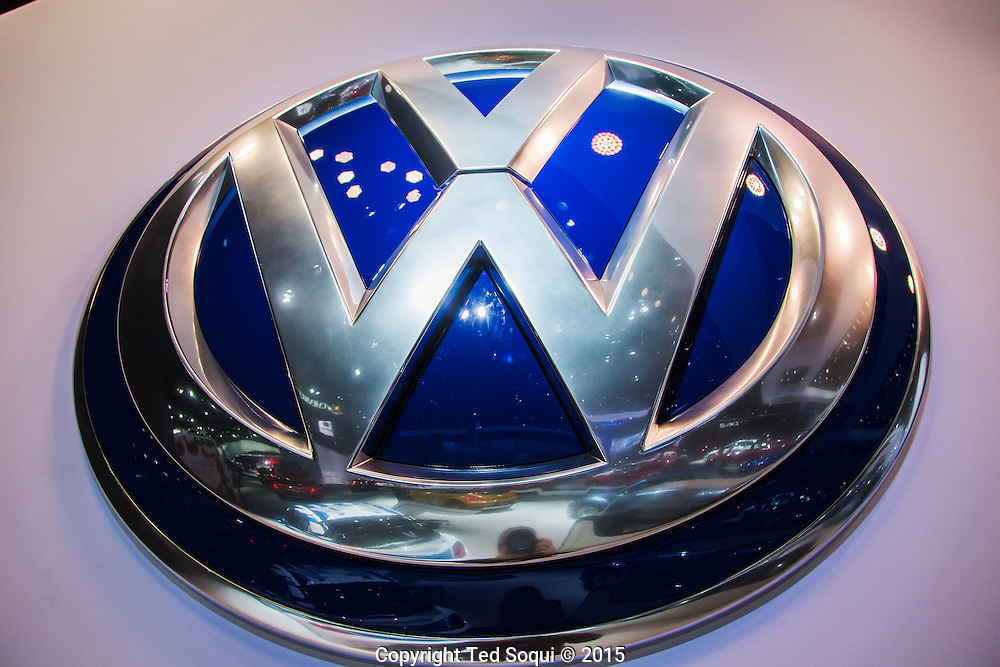 VW symbol.<br /> The 2015 Los Angeles Auto Show at the LA Convention Center.
