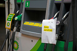 © Licensed to London News Pictures 23/09/2021.<br /> Chelsfield, UK, The BP station in Chelsfield, Kent is closed and out of fuel. BP has started to ration petrol and diesel due to a shortage of truckers. Photo credit:Grant Falvey/LNP