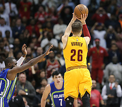 March 3, 2017 - Atlanta, GA, USA - Cavaliers guard Kyle Korver hits a three pointer past Hawks Tim Hardaway Jr. in the final minutes of a 135-130 victory in a NBA basketball game at Philips Arena on Friday, March 3, 2017, in Atlanta, GA. (Credit Image: © Curtis Compton/TNS via ZUMA Wire)