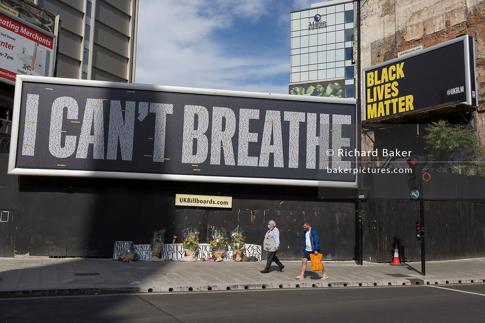 A week after a Black Lives Matter protest turned to violence when the statue of wartime Prime Minister Sir Winston Churchill was daubed in graffiti which called him a racist, a billboard quoting American George Floyd's last words is written at Lambeth North, on 13th June 2020, in London, England.