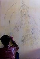 Buddhist artwork, Lhasa, Tibet (Xizang), China.