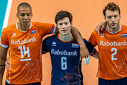 Nimir Abdelaziz of Netherlands, Just Dronkers of Netherlands, Wessel Keemink of Netherlands during the CEV Eurovolley 2021 Qualifiers between Croatia and Netherlands at Topsporthall Omnisport on May 16, 2021 in Apeldoorn, Netherlands