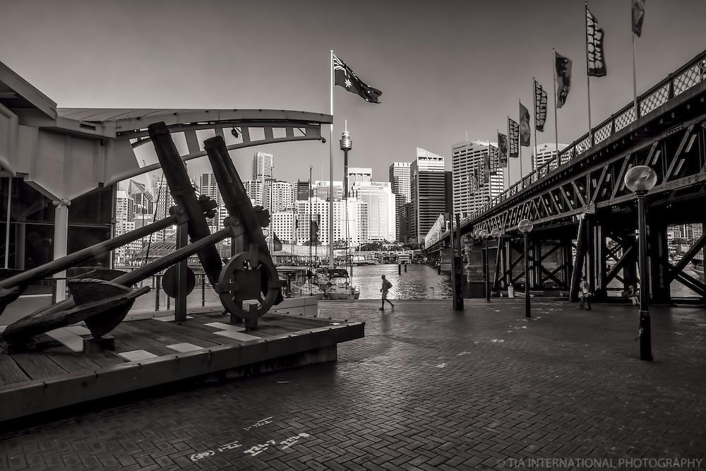 Australian National Maritime Museum (left) & Pyrmont Bridge, Darling Harbour