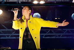 Leona Lewis, during the Marmite Oxford Street Christmas Lights switch-on.  Robbie Williams switches on this year's Christmas lights on the London High Street, hosted by House of Fraser with support from Lewis and boyband Lawson. Theakston and Bunton from Heart 106.2 present, Oxford Street, London, United Kingdom., Oxford Street, London, United Kingdom, November 5, 2012. Photo by Nils Jorgensen / i - Images.