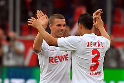 17.09.2011,  BayArena, Leverkusen, GER, 1.FBL, Bayer 04 Leverkusen vs 1. FC Koeln, im Bild.Lukas Podolski (Koeln #10) (L) und Jemals (Köln #3) freuen sich nach dem Sieg in Leverkusen ..// during the 1.FBL, Bayer Leverkusen vs 1. FC Köln on 2011/09/17, BayArena, Leverkusen, Germany. EXPA Pictures © 2011, PhotoCredit: EXPA/ nph/  Mueller *** Local Caption ***       ****** out of GER / CRO  / BEL ******