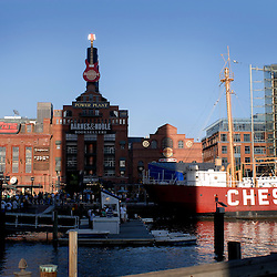 A view of the converted power plant now hosting an ESPN Sport's Zone, Hard Rock Cafe, and Barnes & Noble book store in Baltimore's Inner Harbor.  The Aquarium is on the far right...Photo by Susana Raab