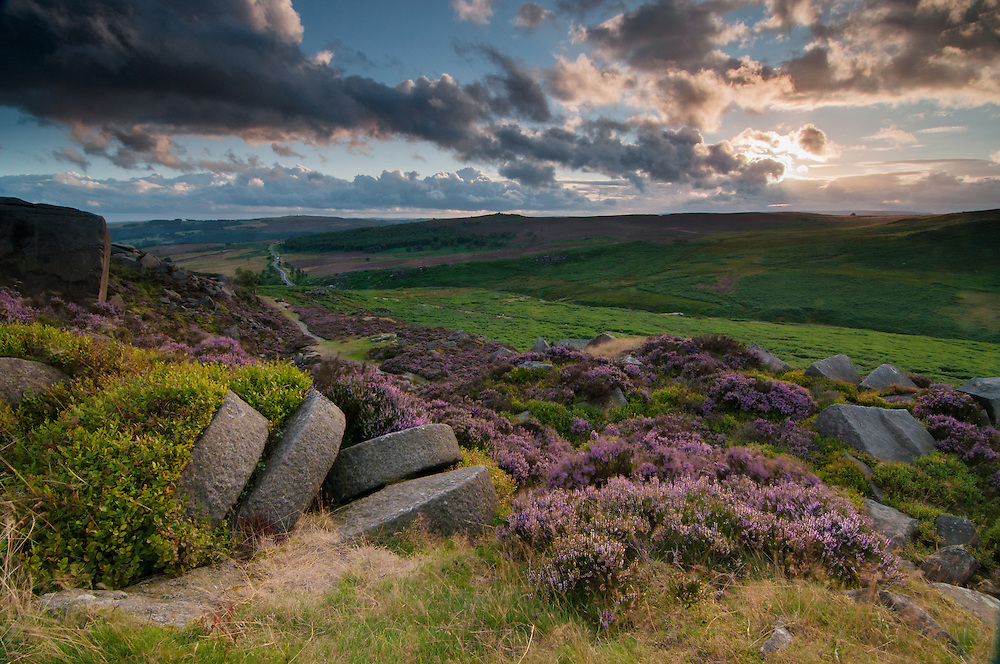 Dramatic sunset over millstones found in the peak district national park.