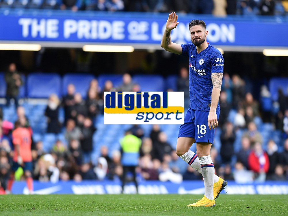 Football - 2019 / 2020 Premier League - Chelsea vs. Everton<br /> <br /> Chelsea's Olivier Giroud salutes the fans after their 4-0 victory, at Stamford Bridge.<br /> <br /> COLORSPORT/ASHLEY WESTERN