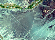 The Nasca Lines located in the Pampa region of Peru. Satellite image.