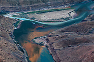 Little Colorado river confluence with the Colorado river with a commercial river trip camped just up stream.