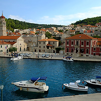 View of the Church of St Jerolime;<br />Trg Hrvatskoga skupa,<br />Pucisca, Brac Island, Croatia