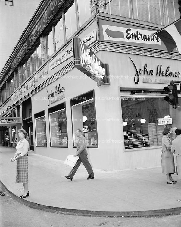 Y-561017.  SW Broadway and Salmon NW corner. Portland, Oregon, October 17, 1956