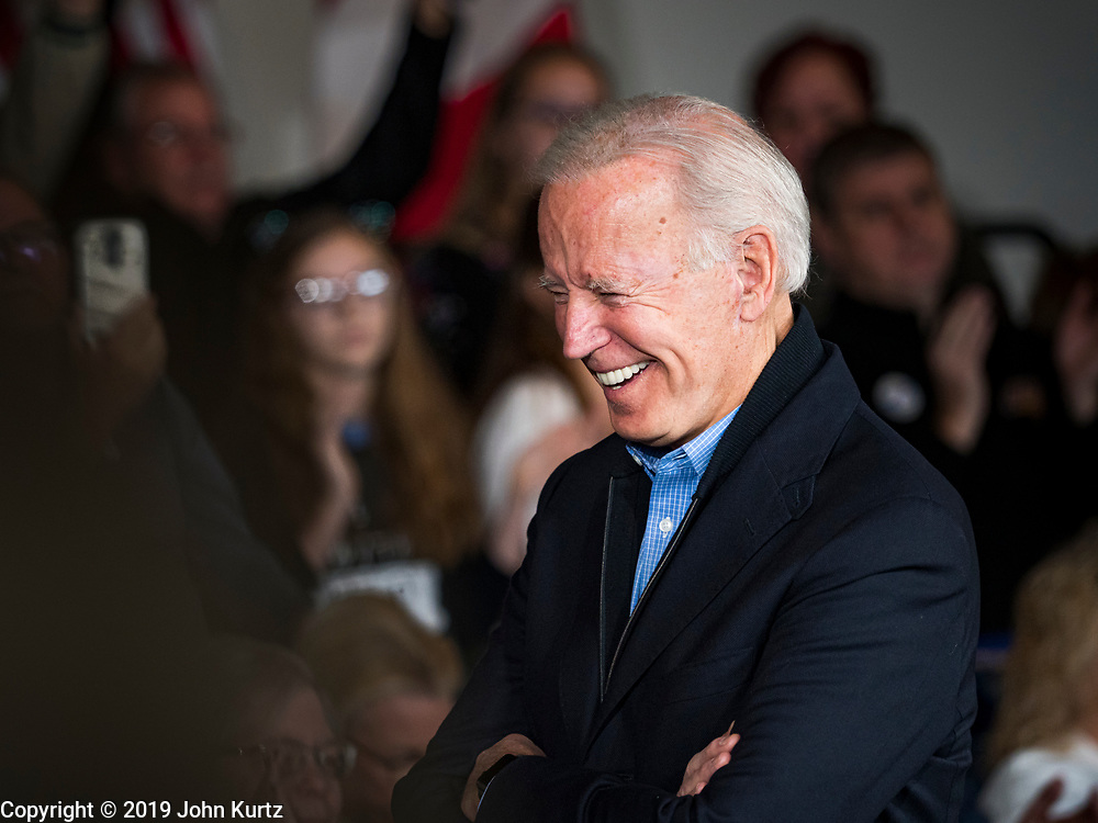 23 NOVEMBER 2019 - DES MOINES, IOWA: Former Vice President JOE BIDEN laughs during a campaign event in Des Moines Saturday. Vice President Biden announced that former Iowa Governor Tom Vilsack endorsed him. Biden and Vilsack appeared with their wives at the event in Des Moines. Iowa hosts the first presidential selection event of the 2020 election cycle. The Iowa caucuses are on February 3, 2020.        PHOTO BY JACK KURTZ