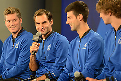 September 20, 2018 - Chicago, Illinois, United States - ROGER FEDERER , NOVAK DJOKOVIC , ALEXANDER ZVEREV and other members of the World Team speak with the media prior to the start of the 2018 Laver Cup tennis event in Chicago. (Credit Image: © Christopher Levy/ZUMA Wire)