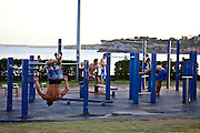 Exercise gym on Bondi Beach where temperatures reached 42.5 degrees centigrade in Sydney today..8th Jan 2013- Paul Lovelace Photography