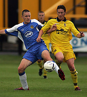 Photo: Paul Thomas.<br /> Southport v Wigan Athletic. Pre Season Friendly. 02/08/2006.<br /> <br /> Joe Holt of Wigan tries to get past Liam Blakeman (R).