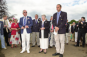 Henley on Thames, United kingdom,   Project Oarsome presentation, Right, Sir Steve REDGRAVE, left  Mike SWEENEY, Chirman HRR.  and centre, Dame, Di ELLIS, chairwomen ARA at the Annual 2002 Henley Royal Regatta, Henley Reach, River Thames, England, [Mandatory Credit: Peter Spurrier/Intersport Images] 05/07/2002 - Sat 20020703 Henley Royal Regatta, Henley, Great Britain
