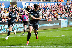 Dan Evans of Ospreys scores his sides first try<br /> <br /> Photographer Simon King/Replay Images<br /> <br /> Guinness PRO14 Round 18 - Ospreys v Dragons - Saturday 23rd March 2019 - Liberty Stadium - Swansea<br /> <br /> World Copyright © Replay Images . All rights reserved. info@replayimages.co.uk - http://replayimages.co.uk