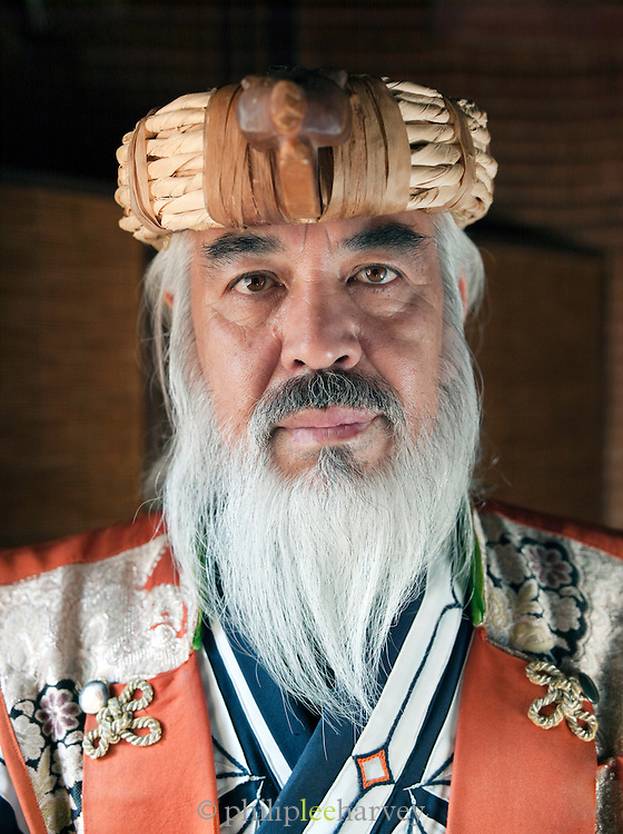 Ainu man in traditional dress. The Ainu people are indigenous to Japan and Russia. Hokkaid?, Japan