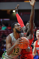 NORMAL, IL - November 13: Malik Yarbrough defends Christian Jacob during a college basketball game between the ISU Redbirds  and the Chicago State Cougars on November 13 2018 at Redbird Arena in Normal, IL. (Photo by Alan Look)